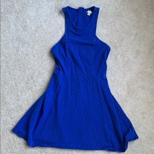 American Eagle Black polka dot blue dress